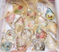 How to use Antique Paper Scraps to Create Chandelier Crystal Jewelry Pendants, Ornaments, Decorations