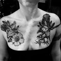 Birds and Flowers Chest Tattoo | Venice Tattoo Art Designs