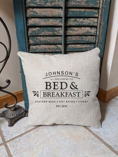 Bed and Breakfast Custom Pillow, Personalized Guest Room Pillow, Housewarming Gift, Guest Room Decor, Farmhouse Pillow – 2019 - Pillow Diy The Doors, Yacht Design, Style At Home, Home Design, Pillow Room, Bed Pillows, Custom Pillows, Decorative Pillows, Bed & Breakfast