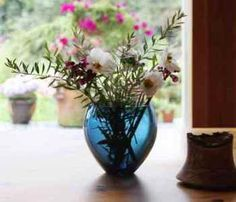 Small Wooden & Glass Blue Vessel