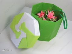 Hack, product Kusudama, Origami: Kusudama with a box + MK boxes of paper, cardboard March 8, Birthday, Teacher's Day, Holiday.  Photo 3