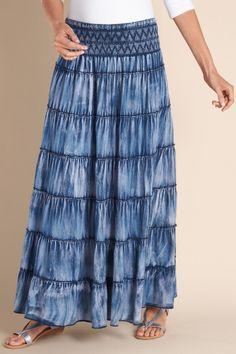 Vintage Indigo Skirt - Boho Style Skirt, Tiered Skirt, Vintage Denim Skirt | Soft Surroundings