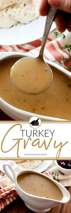 No Thanksgiving is complete without delicious, homemade Turkey Gravy. This recip… No Thanksgiving is complete without delicious, homemade Turkey Gravy. This recipe includes instructions to make turkey gravy with or without pan drippings. Best Thanksgiving Recipes, Thanksgiving Side Dishes, Holiday Recipes, Thanksgiving Gravy, Party Recipes, Turkey Stuffing Recipes Thanksgiving, Thanksgiving Dinner Menu, Hosting Thanksgiving, Holiday Meals