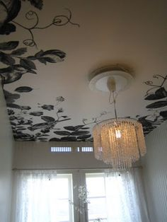 DIY: Painted border Ceiling with modern (diy?)waterfall chandelier