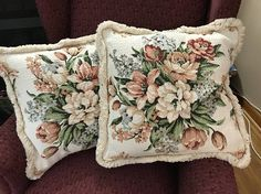 2 matching handmade vintage nubby shabby cottage barkcloth and