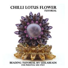 Chilli Lotus Flower  PDF beading pattern  Instant Download