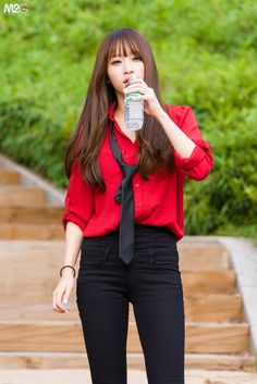 I love this boyish style♥ South Korean Girls, Korean Girl Groups, Super Junior, Korean Celebrities, Celebs, Asian Woman, Asian Girl, Ahn Hani, Korean People