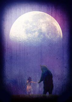 Ideas Fantasy Art Lovers The Moon Spirit Bear, Spirit Animal, Moon Pictures, Moon Pics, Moon Magic, Love Bear, Mundo Animal, Bear Art, Moon Art