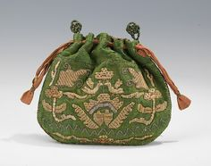 Pouch Date: first quarter 18th century Culture: Russian Medium: silk, metal, linen Dimensions: 5 1/4 x 4 1/2 in. (13.3 x 11.4 cm) Credit Line: Brooklyn Museum Costume Collection at The Metropolitan Museum of Art, Gift of the Brooklyn Museum, 2009; Gift of Mrs. Edward S. Harkness in memory of her mother, Elizabeth Greenman Stillman, 1931 Accession Number: 2009.300.1721