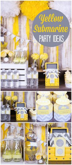 A chic yellow submarine birthday party in yellow and gray with a SUB sandwich station! See more party planning ideas at CatchMyParty.com!