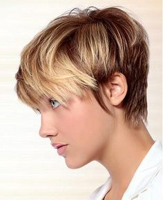 A Short Blonde straight coloured multi-tonal defined-fringe womens haircut hairstyle by Candy Shaw