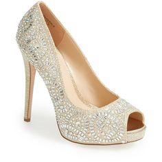 Lauren Lorraine 'Elissa' Crystal Peep Toe Pump (Women) ($30) ❤ liked on Polyvore featuring shoes, pumps, nude sparkle, peep-toe pumps, platform shoes, sparkly pumps, platform pumps and nude shoes