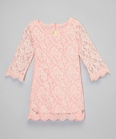 This Pink Three-Quarter Sleeve Lace Dress - Toddler & Girls by Little Miss Fairytale is perfect! #zulilyfinds