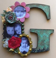 """Altered Letter - artist Erin Reed decided the letter """"G"""" represented """"grateful"""" since she's grateful for her children (pictured). Could do an alphabet scrapbook based on this, or spell out letter of a name or word as wall art - I'm thinking name and each letter stands for a characteristic of that person ************************************************ #altered #art #mixed #media #crafts #letter #photo #monogram #name #word #memory #scrapbook - tå√"""