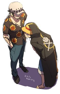Clothes Swap - Monkey D. Luffy and Trafalgar D. Water Law One Piece