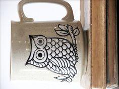 Vintage Owl Coffee Mug, Owl Lover Gift, Owl Collectible, Owl Decor, Teacher Gift. Owl Coffee, Coffee Love, Coffee Mugs, Owl Kitchen, Owl Mug, Vintage Owl, Vintage Coffee, Painted Mugs, Cute Owl