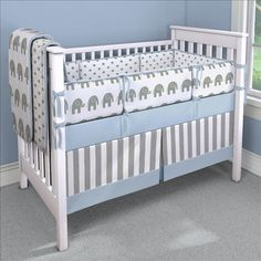 Blue Elephants Nursery Idea | Customizable Crib Bedding Set | Carousel Designs 500x500 image