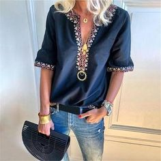 Digital Printing V-Neck Sexy Blouses Casual Women Tops Three Quarter Sleeve Summer Blouse Female Plus Size Shirts Bohemian Blouses, Boho Tops, Plus Size Shirts, Plus Size Blouses, Ethnic Fashion, Look Fashion, Fashion Women, Estilo Fashion, Fashion Clothes