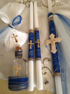 Baptism candles Lambades for Boys Orthodox Baptism One candle size height x diameter two Candle size Lead free cotton/ smokeless navy blue ribbon. Baby Boy Baptism, Baptism Party, Orthodox Easter, Baptism Candle, Palm Sunday, Diy Candles, Spring Crafts, Christening, Easter Candle
