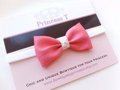 Girls/Baby Bow Headband. Rose Pink Bow w/ by BowtiquebyprincessT, $7.90