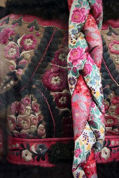 Detail - Paloc maiden in festive winter church clothes, 1870 Church Outfits, Church Clothes, Hungarian Embroidery, Rugged Style, Dress Out, World Cultures, Fabric Scraps, Traditional Outfits, Pretty Dresses