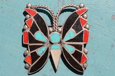 Vintage 1930s Zuni Sterling Silver Turquoise Red Coral Jet Butterfly Pin Brooch   eBay