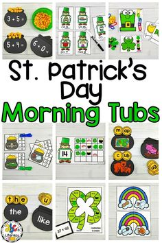 Are you looking for entertaining and engaging morning work and activities to start the day? These St. Patrick's Day Morning Tubs are fun, hands-on activities used to learn and review literacy and math concepts. This set of March Morning Tubs includes 5 literacy and 5 math morning tubs that are perfect for preschoolers, kindergartners, and first graders. Click on the picture to learn more about these St. Patrick's Day activities! #morningtubs #stpatricksdaymorningtubs #morningwork #morningbins