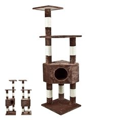 GHP 52 1/2' 4 Level Brown Faux Fur Cat Tree Condo Scratching Post >>> To view further, visit now : Cat Tree