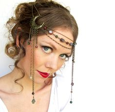 Nature in the Moonlight Head Piece by BeasleysWonders on Etsy Wiccan Wedding, Pagan Fashion, Head Jewelry, Jewellery, Goddess Costume, Barrettes, Circlet, Handfasting, Headgear