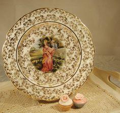 Vintage Regency Couple Chintz Plate made in by VerasTreasures, £8.00