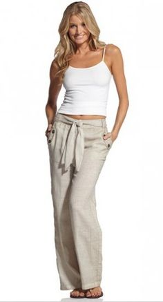 Elan Linen Pants in Sand...linen pants with a plain tank and flip flops is so cute and comfy.  Perfect for Jamaica.