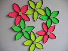 Recycle wall flower art / Upcycled Toilet Paper Rolls/ by RutiLine, $30.00