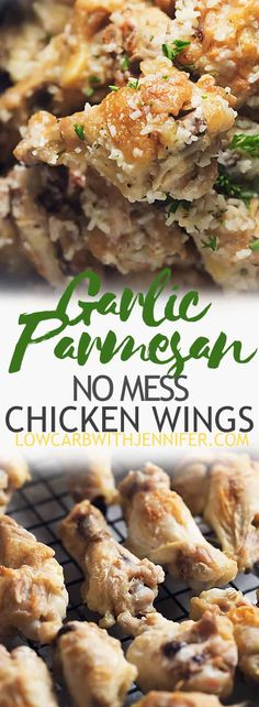 These easy garlic parmesan chicken wings are baked until crispy and then doused in a delicious garlic parmesan sauce. A great low carb appetizer idea! #appetizer #lowcarbrecipes #ketorecipes #gamedayfood