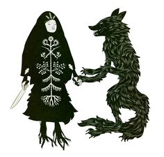 "From Baba Yaga and the Wolf by Tin Can Forest: ""Let us, wytche and lycanthrope, spin a jig, then howl at the moon, together."""