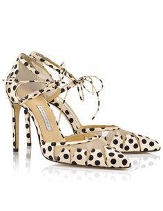 Polka Satin Ankle-Tie Lana Pumps | Bionda Castana | Avenue32
