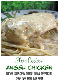 Slow Cooker Angel Chicken - chicken, cream of chicken soup, cream cheese and Italian dressing mix - serve over angel hair pasta or potatoes. So easy and super delicious! Same as Karen's recipe except she uses onion and chive cream cheese. Slow Cooker Huhn, Slow Cooker Chicken, Slow Cooker Recipes, Crockpot Recipes, Cooking Recipes, Steak Recipes, Crockpot Dishes, Crock Pot Cooking, Chicken Soup Recipes