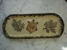 Fern and turtle impression pottery pine needle basket bases on Etsy, $16.00
