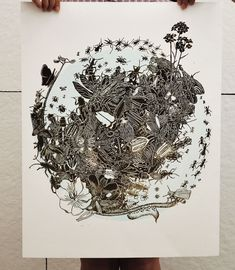 """""""Decline"""" is the title of Holly Avery's newest linocut that is related with endangered flowers and insects found in California.  http://illusion.scene360.com/art/47847/a-linoleum-block-print/"""