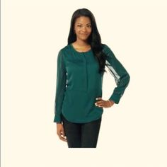 Deep Teal Green Chiffon Blouse Long sleeves with Button Cuffs. Beautiful Chiffon material. Scoop Neck. Color is darker in person compared to Catalog Photo  Metaphor Tops Blouses