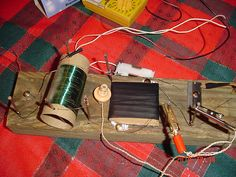 My foxhole radio with parts labeled Superheterodyne Receiver, What Are Crystals, Digital Radio, Primitives, Radios, Primitive