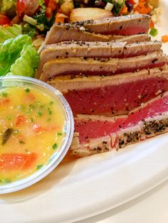 Seared Ahi Tuna with Orange Ginger Ponzu--oh em gee gotta eat this with stratty!