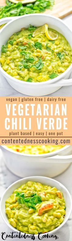 This Vegetarian Chili Verde is naturally vegan, gluten free and super easy to make in one pot. Packed with so many delicious mouthwatering flavors, a winning combo for dinner, lunch, mealprep, budgetfriendly and worklunches. Ready in 10 minutes on the table try it now and enjoy. #vegan #glutenfree #contentednesscooking #plantbased #dairyfree #vegetarian #chili #chiliverde #onepotmeals #bugdetmeals #dinner #lunch #mealprep #worklunchideas