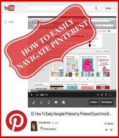 PINTEREST 101 Video Tutorial For Beginners: Pinterest can be overwhelming when you're just getting started. Go here to learn how to easily navigate Pinterest using the new version http://www.youtube.com/watch?v=jdU8Ejyh3Mc✭Pinterest Expert Anna Bennett✭ http://www.youtube.com/watch?v=jdU8Ejyh3Mc