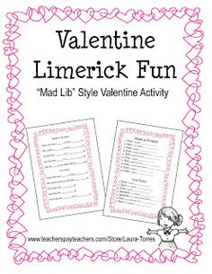 Classroom Freebies Too: Limericks for Valentine's Day