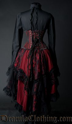 "draculaclothing: "" A beautiful outfit: Skirt: http://draculaclothing.com/index.php/red-ruffle-skirt-p-1050.html Corset: www.draculacorsets.com Blouse:..."