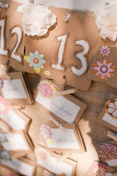 kraft paper, twine and scrapbook paper escort cards