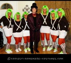 Oompa Loompas and Willy Wonka Homemade Group Costume… Enter Coolest Halloween Costume Contest at http://ideas.coolest-homemade-costumes.com/submit/
