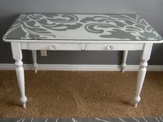 Love this fun, graphic painted desk. Who says furniture has to be solid? Thinking this is perfect for my desk makeover! Desk Makeover, Furniture Makeover, Desk Redo, Repurposed Furniture, Painted Furniture, Painted Desks, Painted Chairs, Furniture Projects, Diy Furniture