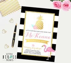 This flamingo invitation is perfect for your summer birthday party :)  If you need a party pack to match I can make one just ask! Comes with pretty pineapple and flamingo with gold accents, black and white stripes, and pretty modern calligraphy.  The best part is that its a digital file so you can print as many as you like, or go green and send your invitation via email. Print 1, print 1000!  HOW TO ORDER  1) Choose & purchase the design that you like  2) Please EMAIL me your information to…