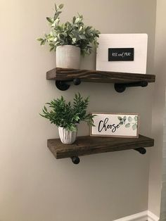 Add storage, strength and style! Rustic Pipe shelves are stylish,sturdy and give a room a bit of an industrial / modern Pipe Shelves, Rustic Shelves, Floating Shelves, Shelving, Bathroom Shelves, Kitchen Shelves, Kitchen Ware, Small Bathroom, Cheap Bathrooms